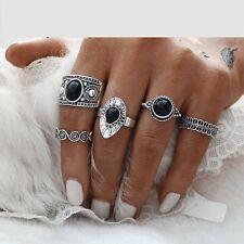 Bohemian Boho Punk Ethnic Style Festival Antique Silver Ring Thumb 5 Pcs Set