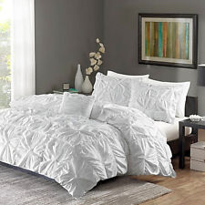 Ruched Bedding Set FULL/QUEEN Size Bed White Duvet Cover Shams 4 Piece Twist