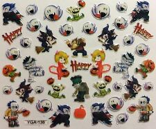 Nail Art 3D Decal Stickers Halloween Witch Zombie Devil Werewolf Ghost YGA136