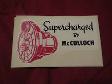 "MCCULLOCH SUPERCHARGER ""SUPERCHARGED BY MCCULLOCH"" VINTAGE LOGO DECAL STICKER"