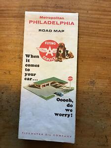 1965 Flying A Service Road Map - Metropolitan Philadelphia