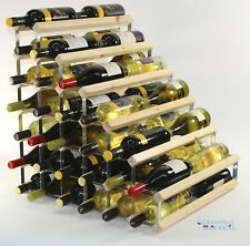 Double depth 54 bottle pine wood and metal wine rack ready to use