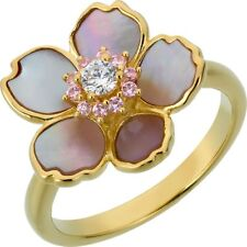Gold Plated Mother of Pearl and Cubic Zirconia Flower Ring Size O