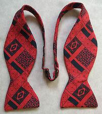 Vintage Self Tie Bow MENS Dickie Bowtie RED BLACK