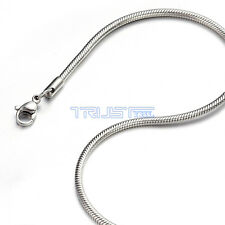 "2 mm 18"" 18 inch Silver Stainless Steel Round Snake Necklace Chain Men Women"