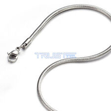 "2.4 mm 16"" 16 inch Silver Stainless Steel Round Snake Necklace Chain Men Women"