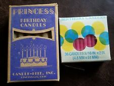 "Vintage NOS Boxes Birthday Candles - 12 Princess 3½""L & 36 Candle-Lite 2""L"