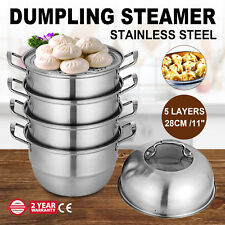 ∅28cm/11'' Stainless Steel 5 Deck Steamer Cooking Food Stock Steam Pot Cookware
