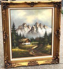 "Vintage 31"" Original Signed DON RODELL Mountain Cabin RARE Framed Art Painting"