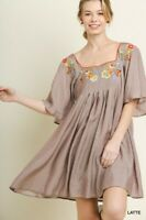 Umgee Latte Floral Embroidered Square Neck Bell Sleeve Babydoll Lined Dress