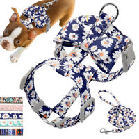 Bowtie Floral Dog Harness and Lead Strap Pet Vest for Small Medium Dogs Beagle