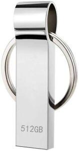 Robuster USB Stick 512GB Speicherstick Slim silber USB 2.0 Wasserdicht
