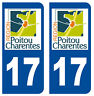 17 CHARENTE-MARITIME DEPARTEMENT IMMATRICULATION 2 X AUTOCOLLANTS STICKER AUTOS