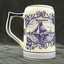 Vintage Heineken Dutch Beer Stein Tankard Mug Blue Delft Hand Painted Holland