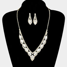 GOLD /CLEAR  CRYSTAL /RHINESTONE    FASHION  NECKLACE, & EARRING SET E 2