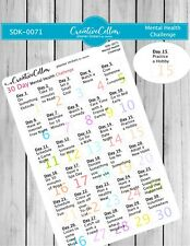 SDK-0071 Planner Stickers 30 Day Mental health Challenge, fits any planner