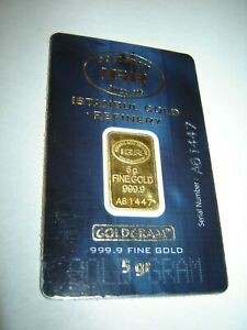 5 Gram 999.9 Fine Gold Bullion - IGR / Istanbul Gold Refinery - Assay Certified