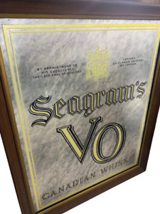 Vintage Canadian Whiskey Seagram's VO Authentic Bar Sign Mirror Earl of Athlone