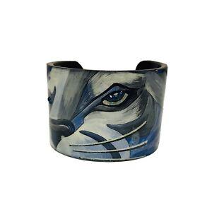 Debbie Brooks Wide Cuff Bracelet Tiger Eyes Blue Swarovski Crystals
