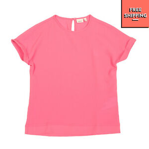 NAME IT Crepe Top Size 13-14Y / 158-164CM Turn Up Cuffs Cap Sleeve Crew Neck