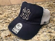 NEW YORK YANKEES MEN'S '47 BRAND CLOSER STAMPER MESH MLB SIZE S/M NAVY HAT CAP