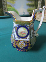 ANTIQUE KPM BERLIN GERMANY GOLD AND BLUE PITCHER 7 X 6 [*81-I]