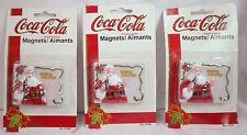 Lot of 3 Vintage Christmas Decorative Refrigerator magnets Coca Cola Coke Santa