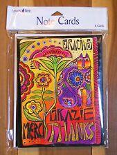 8 Leanin Tree Thanks Gracias Grazie Merci Colorful Cards Cat Flower Laurel Burch