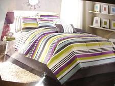 NEW-Bed Bath & Beyond Twin 6 Pc. Bed Set- Stripe:Purple/Grey/Blue/Green/White
