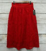 Metro Wear Skirt Womens Size XLarge Red Floral Lace Midi with Crochet Waist New