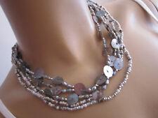 Damen Collier Hals Kette kurz Modekette Silber Grau Perlmutt Perlen 4 Reihig