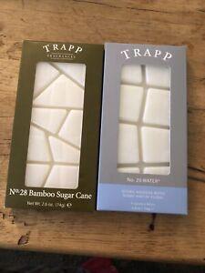Lot Of 2 New Trapp Wax Melts No. 28 Bamboo Sugar Cane and No. 20 Water