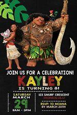 MOANA MAUI Invitation Hawaiian MOANA INVITATION Luau Birthday Party Invite TIKI