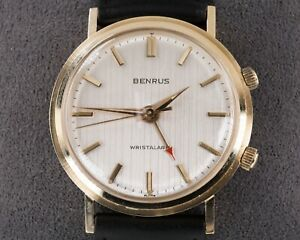 Benrus 14k Yellow Gold Alarm Hand-Winding Watch w/ Leather Band