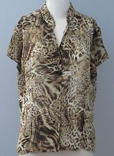 LAURA Size 14 Brown Button Down V-Neckline Semi-Sheer Short Sleeve Blouse