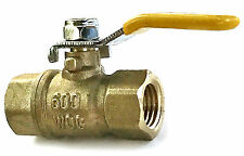 "1/4"" Female NPT Mini Brass Ball Valve, Lever Handle Full Port Threaded 600 WOG"