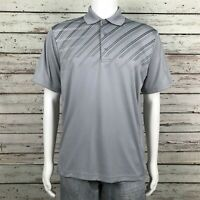 PGA Tour Golf Polo Shirt LARGE Men's Silver Gray Diagonal Stripe Polyester