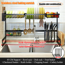 Over The Sink Dish Drying Rack Shelf Stainless Steel Storage Cutlery Holder