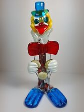 LARGE VINTAGE MURANO GLASS CLOWN FIGURE 11.5 INCHES TALL - RED BOW TIE
