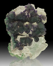 "5"" Octahedral FLUORITE Purple+Green Crystals on White Quartz DeAn China for sale"