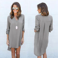 Long Sleeve Women Shirt Loose Blouse Chiffon Casual V-Neck Summer Dress AI