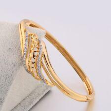HUCHE Hollow Gold Filled Diamond Sapphire Gems Women Lady Bracelet Bangle Cuff