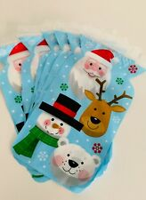 6 X CHRISTMAS CELLO Cellophane Treat Xmas Sweet Gift Bags SANTA AND FRIENDS