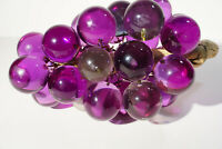 Mid Century Lucite Acrylic Purple & Clear Large Grape Cluster w/ Driftwood Stem