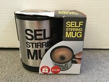 BRAND NEW SELF STIRRING MUG IN STAINLESS STEEL & BLACK PLASTIC WITH LID(BATTERY)