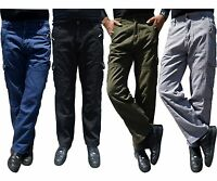 Mens Relaxed Fit 100% Cotton Military Combat Cargo Army Pant WorkWear Trousers