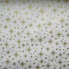 FQ Christmas Metallic Golden Stars Cream fabric by Makower