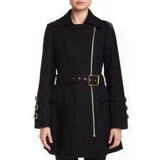 NEW Steve Madden Ladies M Black Wool Blend Asymmetrical Zip Trench Coat Jacket