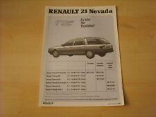 50597) Renault R21 Nevada Preise & Extras Prospekt 11/1988