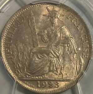 French Indo-China 1923-A 20 Cents Centimes PCGS AU58